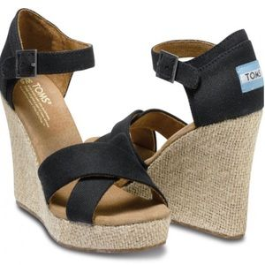 Toms Black Canvas Strappy Wedge
